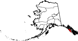 map of Alaska highlighting Sitka City and Borough