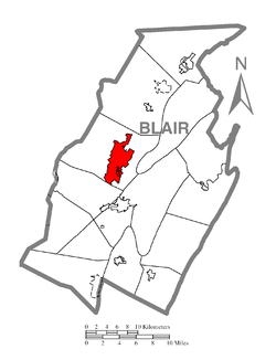 Location of Altoona in Blair County的位置