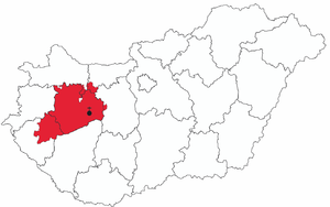 Roman Catholic Archdiocese of Veszprém - Image: Map of Archdiocese of Veszprem