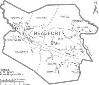 Beaufort County, North Carolina - Map of Beaufort County, North Carolina With Municipal and Township Labels