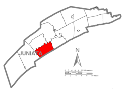 Map of Juniata County, Pennsylvania highlighting Spruce Hill Township