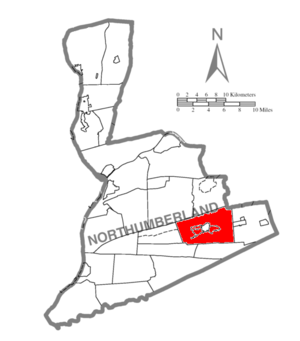 Coal Township, Northumberland County, Pennsylvania - Image: Map of Northumberland County Pennsylvania Highlighting Coal Township