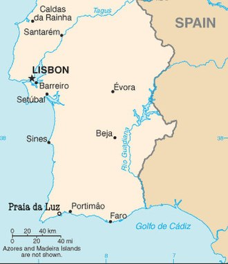 Disappearance of Madeleine McCann - Central and southern Portugal, showing Praia da Luz and Portimão, regional headquarters of the Polícia Judiciária, in the south