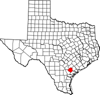 Map of Texas highlighting Goliad County