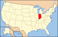 Map of the USA highlighting इंडियाना