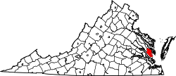 Map of Virginia highlighting Gloucester County.svg