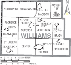 Map of Williams County Ohio With Municipal and Township Labels.PNG