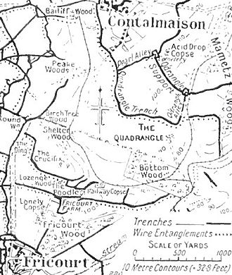 Capture of Fricourt - Image: Map of the Fricourt Contalmaison area,1916