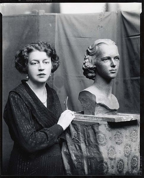 File:Margaret French Cresson, American sculptor, 1889-1973, standing beside bust of Nathalie Osborn.jpg