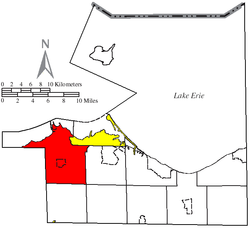 Location of Margaretta Township (red) in Erie County, adjacent to the city of Sandusky (yellow)