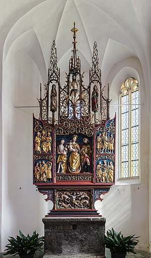 Altar of the Holy Helpers at the pilgrimage church Maria Elend
