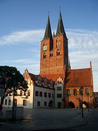 Stendal - St Mary's Church with town hall and Roland statue