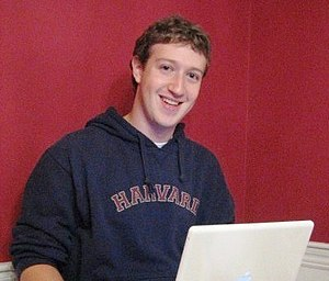 Facebook - Mark Zuckerberg, co-creator of Facebook, in his Harvard dorm room, 2005