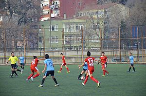 Turkish Women's First Football League - 2013–14 Women's First League match Marmara Üniversitesispor (blue/black) vs Konak Belediyespor (red)