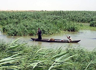 Draining of the Mesopotamian Marshes - Marsh Arabs in the wetlands.