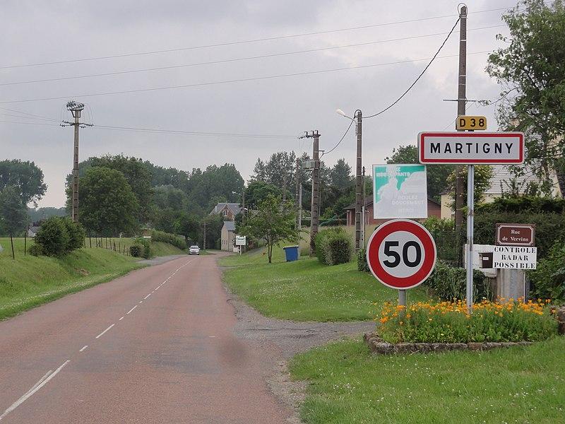 Martigny (Aisne) city limit sign