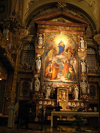 Mary Help of Christians - The image of Mary Help of Christians enshrined in her Turin basilica, where Pope Leo XIII granted a Canonical coronation on 17 May 1903.