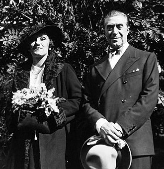 Victor Francen - Wedding picture with his wife actor Mary Marquet in 1934