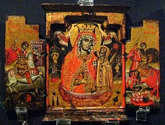 Military saint - Triptych of the Bogomater flanked by Saints George and Demetrius as horsemen (dated 1754)