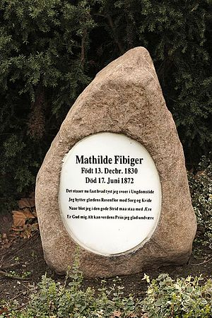 City Hall Park, Aarhus - Headstone for Mathilde Fibirger.
