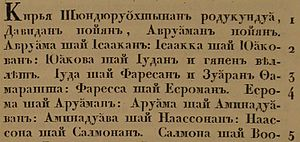 Cyrillic alphabets - The first lines of the Book of Matthew in Karelian using the Cyrillic script, 1820