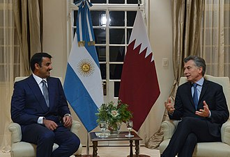 Quinta de Olivos - Macri and the Emir of Qatar Tamin bin Hamad Al Thani in the main house
