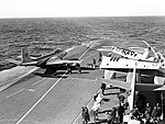 McDonnell F2H-3 Banshee is positioned on the catapult of HMCS Bonaventure (CVL 22), in 1957.jpg