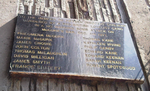 McGurk's Bar bombing - Plaque near the site of the bombing listing those killed