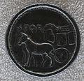 Medaglione contorniato di giulia domna, verso con carpentum trainato da due muli e SPQR.JPG