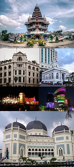 From top, left to right:  Graha Maria Annai Velangkanni church, London Sumatra building in Kesawan, Medan's Old City Hall, Hillpark Sibolangit amusement park, Sun Plaza mall, and Great Mosque of Medan.