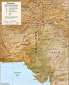 A relief map of Pakistan showing Mehrgarh.