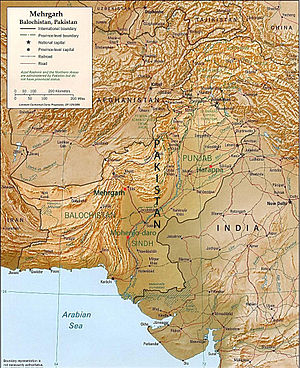 Mehrgarh - Map of Pakistan showing Mehrgarh in relation to the cities of Quetta, Kalat, and Sibi and the Kachi Plain of Balochistan.