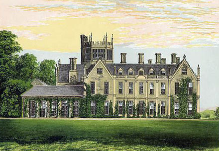 Melbury House, chromolithograph in Morris's Country Seats, 1880 Melbury House Dorset Morris edited.jpg