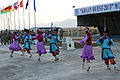Members of the Mongolian Military Song and Dance Academic Ensemble perform a traditional dance during a Mongolian culture event as part of exercise Khaan Quest 2013 at the Five Hills Training Area in Mongolia 130804-M-DR618-030.jpg