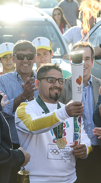 Pablo Chacón - Chacón during the torch relay of the 2018 Summer Youth Olympics