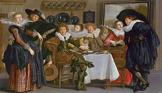 Genre art - Merry company, by Dirck Hals
