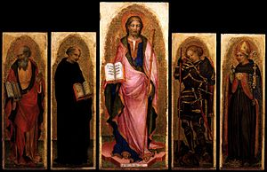 Michele Giambono - Michele Giambono - Polyptych of St James (c. 1450) Gallerie dell'Accademia, Venice. Tempera on panel, 109 x 44 cm -central panel, 88 x 29 cm –side panels