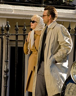 My Week with Marilyn - Michelle Williams as Marilyn Monroe and Dougray Scott as Arthur Miller on set in Mayfair, London