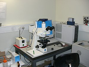 Optical microscope - A modern microscope with a mercury bulb for fluorescence microscopy. The microscope has a digital camera, and is attached to a computer.