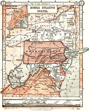 Mid-Atlantic states - An 1897 map displays an inclusive definition of the Mid-Atlantic region.