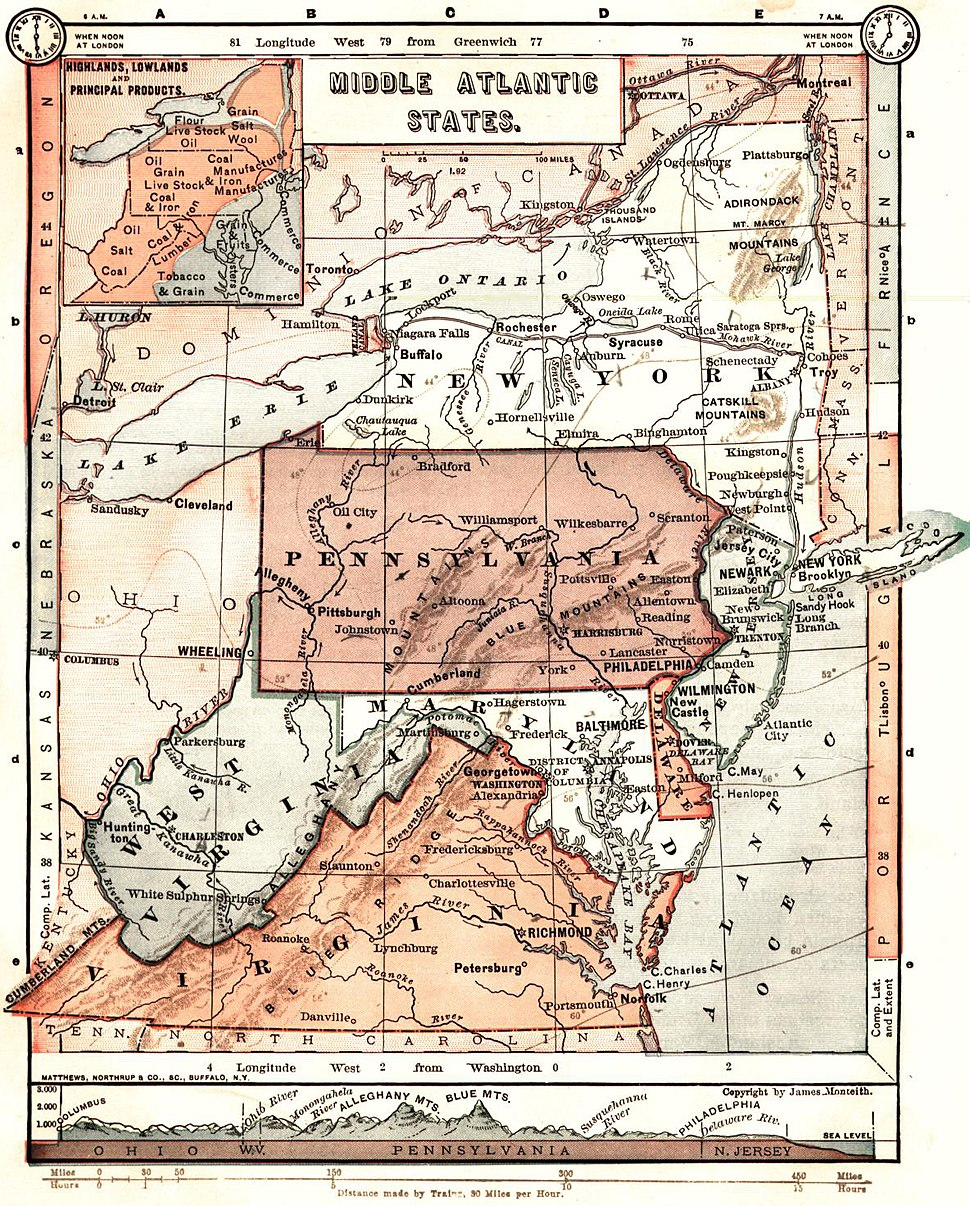 Middle Atlantic States - 1883 Monteith map