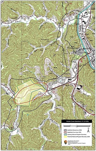 Battle of Middle Creek - Map of Middle Creek Battlefield core and study areas by the American Battlefield Protection Program.