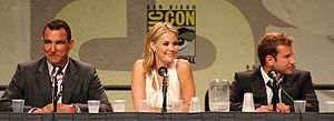 The Midnight Meat Train - Vinnie Jones, Leslie Bibb, and Bradley Cooper at San Diego Comic-Con International promoting the film in July 2007