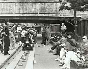 Location shooting - Mike Chin on location in Chinatown's Portsmouth Square in San Francisco, California filming a low budget movie in 1983