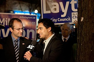 Toronto municipal election, 2010 - Mike Layton being interviewed by a television reporter on election night.