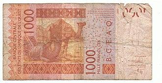CFA franc - Image: Mille francs CFA 2