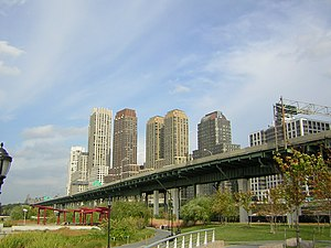 Riverside South, Manhattan - View north from Riverside Park South. Buildings and the West Side Highway are in the background; park elements are in the foreground.