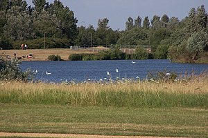 Balancing lake - Willen Lake (north basin), with spill-way in the background