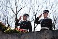 Ministru prezidents Valdis Dombrovskis piedalās svinīgajā vainagu nolikšanas ceremonijā Rīgas Brāļu kapos, atzīmējot Nacisma sagrāves dienu un pieminot Otrajā pasaules karā bojāgājušos (8720266080).jpg