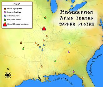 Mississippian copper plates - Distribution of avian themed copper plates